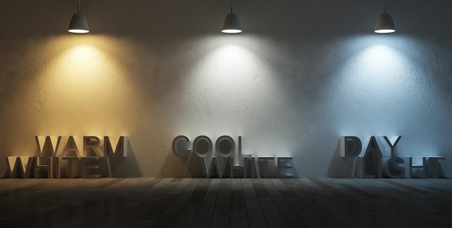 Пример свечения теплых,  нейтральных  и холодных светодиодных светильников в сравнении