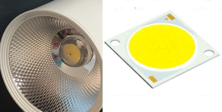 Лицевая сторона трекового светодиодного светильника на COB технологии