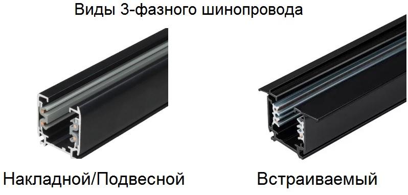 Трехфазный шинопровод для светильников
