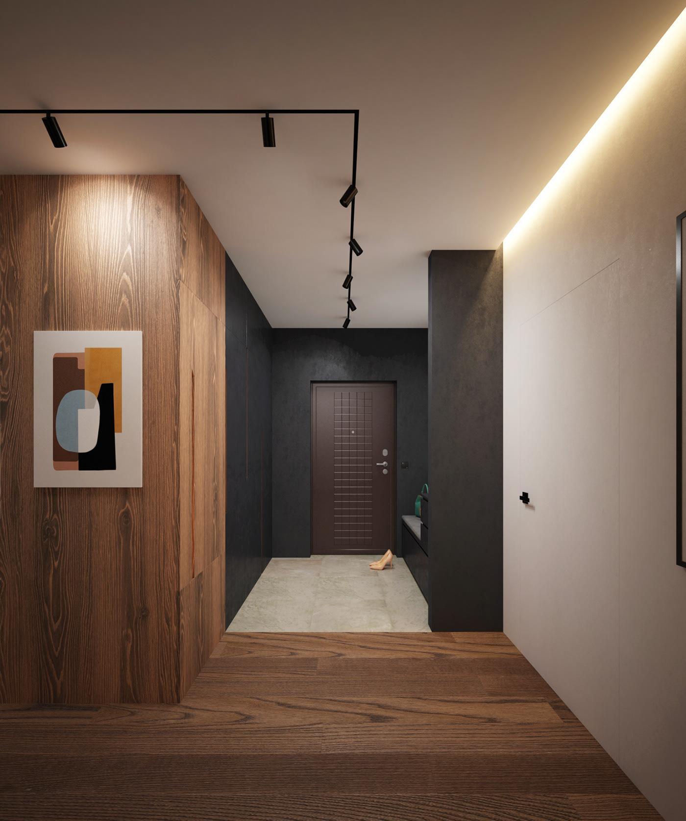 Трековый свет в коридоре современной квартиры