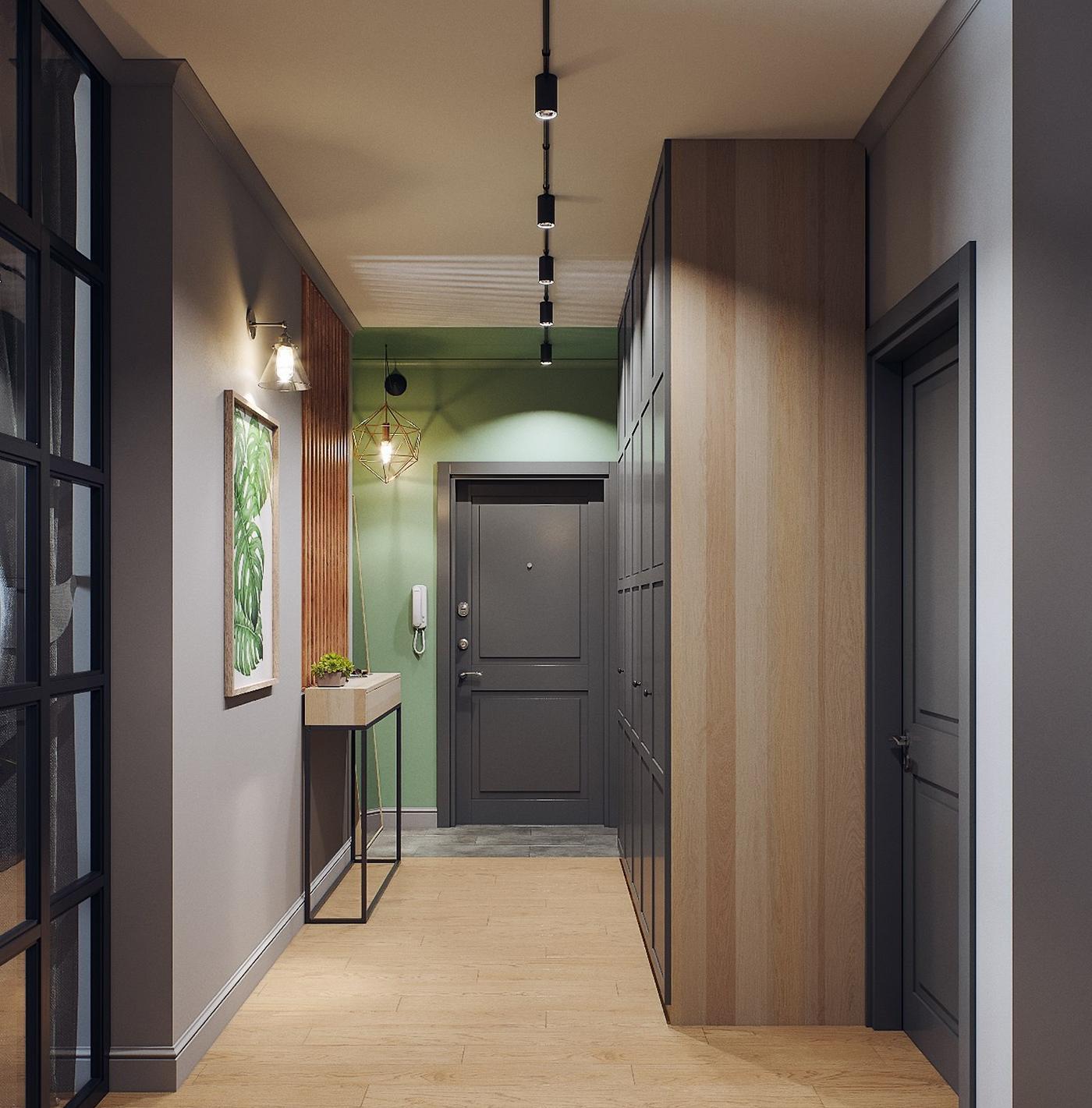 Акцентное освещение картин шинными светильниками в коридоре